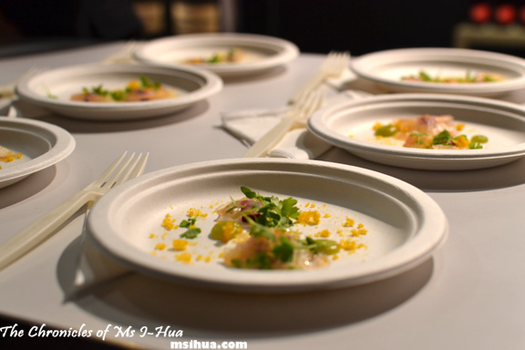 \'Bresaola di Rombo\', Celery, Beetroot, Dried Mandarin at Sarti