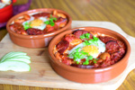 A Lazy Sunday Breakfast Recipe: Spanish Baked Eggs & Chorizo with Steamed Sweet Corn + Giveaway Espresso Cups!!!