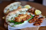 Jamie Oliver Inspired Fish Burgers with a side of Grilled Prawn Skewers Recipe