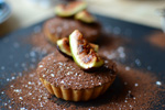 No-Bake 'Manjari 64%' Chocolate Tarts with Honeyed Grilled Figs Recipe