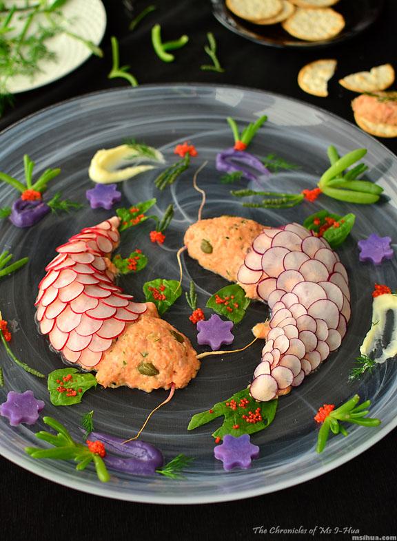 Retro Party Recipe Twin Koi Fish Shaped Salmon Rillettes Ms I Hua The Boy