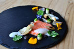Playground Series: Confit Salmon, Oyster Mushrooms, Yuzu Foam, Leek Ash Mayo
